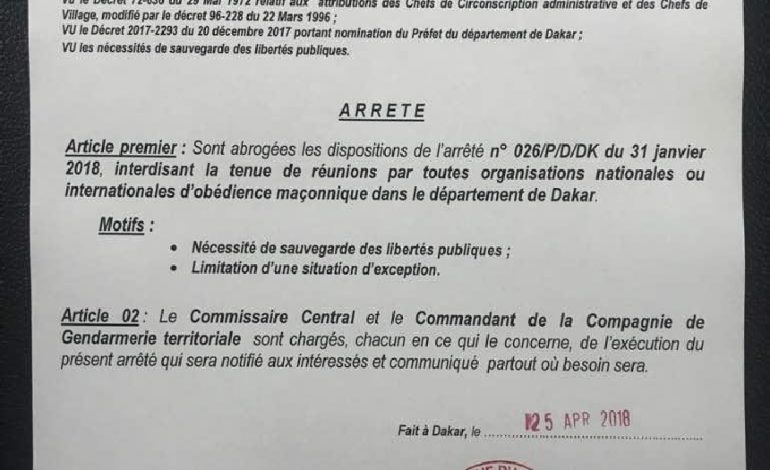 L'interdiction des rassemblements maçonniques à Dakar abrogée par le Préfet