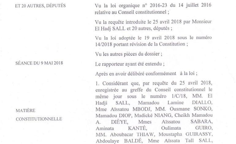 Le Conseil Constitutionnel du Sénégal se déclare incompétent pour statuer sur la loi sur le parrainage aux élections