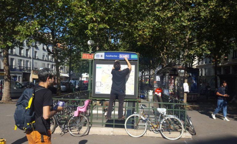 L'association Survie débaptise la station de métro Faidherbe à Paris
