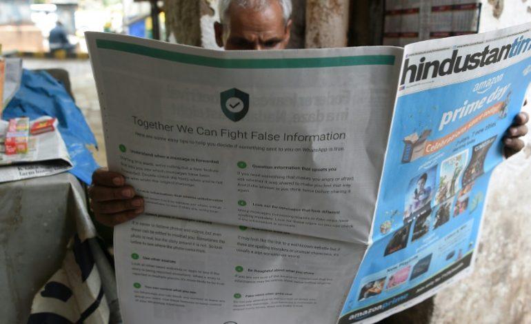 Après les rumeurs meurtrières en Inde, WhatsApp offre ses «conseils» dans la presse locale