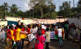 Des centaines de jeunes camerounais manifestent devant l'ambassade de France à Yaoundé après les propos d'Emmanuel Macron