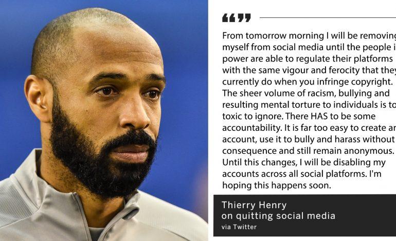 Thierry Henry quitte les réseaux sociaux pour protester contre «racisme» et «intimidation» et «torture mentale»